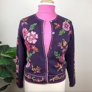 Purple Button Cardigan w/Embroidered Flowers